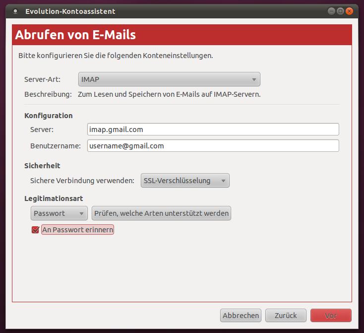 Evolution mit Googlemail einrichten - Fabi's Blog
